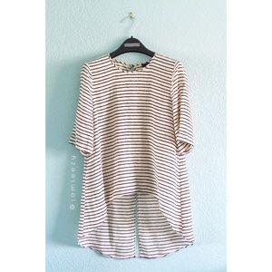 BCBGMaxAzria | Striped Silk Hi-Lo Blouse